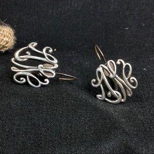 """Vintage Silver """"LRE"""" Monogram Earrings"""